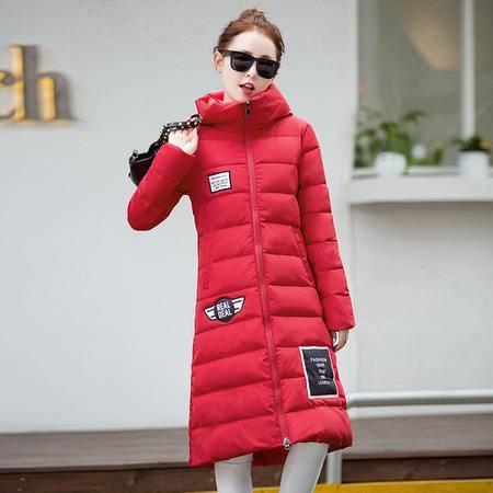 施悦名 2016秋冬季新款韩版百搭长款羽绒棉服女加长修身过膝棉服外套