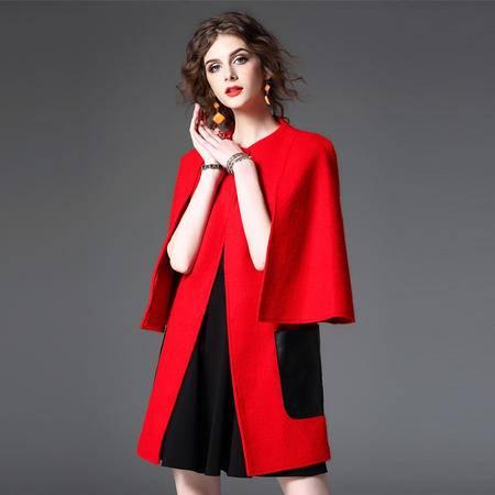 施悦名 欧洲站2016秋冬新款女装 欧美时尚拼接毛呢外套呢子大衣女