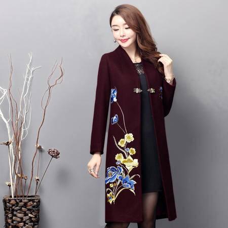 施悦名 2016秋冬季新品女装中国民族风重工刺绣花修身款羊毛呢子大衣外套