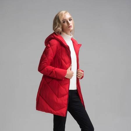 施悦名2016秋冬新款修身保暖女装外套 欧美外贸中长款连帽大衣棉衣