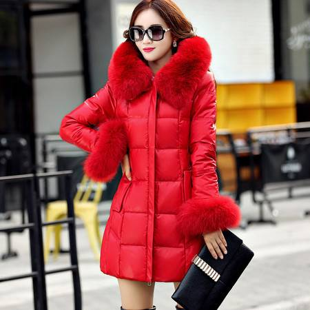 施悦名 女士绵羊皮羽绒服中长款2016冬季韩版新款真狐狸毛领90鸭绒