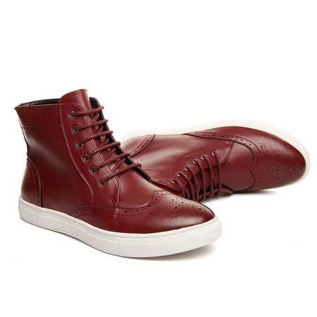 小童马 新款英伦布洛克马丁靴圆头复古皮靴布洛克男靴   80691