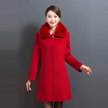 施悦名 妈妈装羊绒大衣毛呢中年女装羊毛风衣中老年厚呢子秋冬装外套呢子