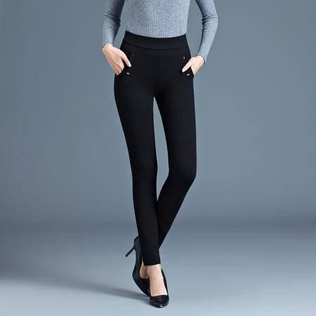 施悦名  2016年秋冬季时尚高腰大码修身女裤休闲黑色铅笔小脚女裤