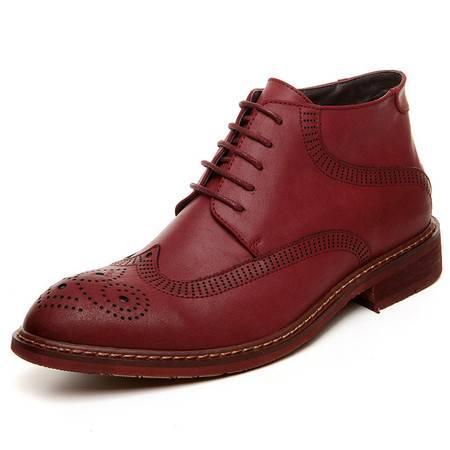 小童马 尖头复古马丁靴系带高帮男靴布洛克皮靴英伦复古男靴 5903