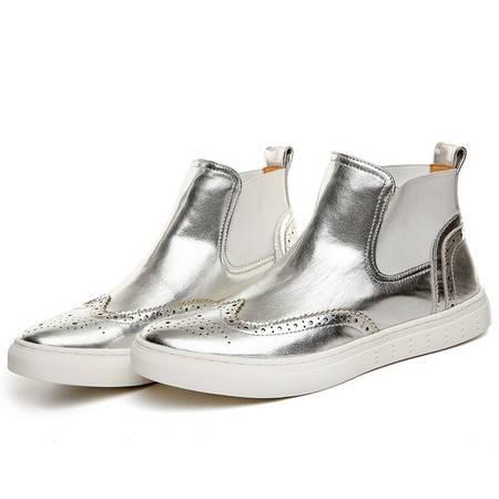 小童马 新款英伦布洛克马丁靴圆头复古皮靴子套筒高帮鞋子 80863