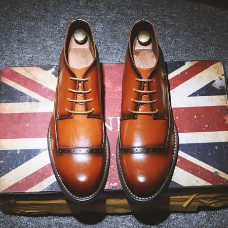 小童马 英伦复古男靴高帮尖头马丁靴男休闲短靴系带男鞋子 5101