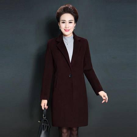 施悦名 风衣大衣女2016秋冬新款中老年女装妈妈装毛呢外套中长款羊毛大衣