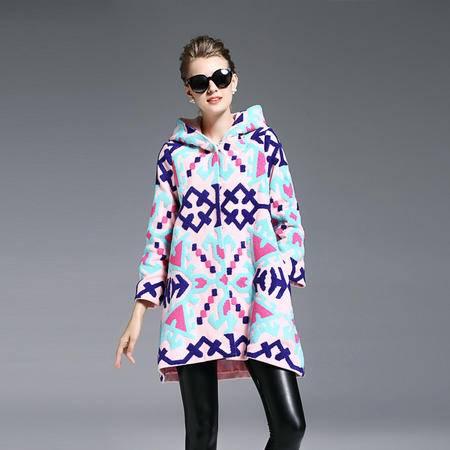 施悦名 2016秋冬季新款女装毛呢连帽子撞色大衣重工刺绣修身呢子外套