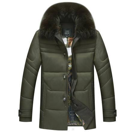 汤河之家 2016冬季新款男士加厚羽绒棉服 时尚可拆卸狐狸毛领保暖羽绒外套 1509