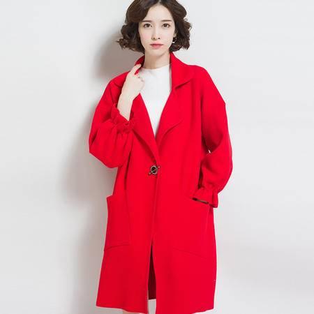 施悦名 纯色呢大衣外套 韩版仿呢大衣冬季新品外套女 长款毛呢外套