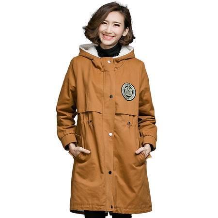 施悦名 加肥加大码女装2016冬装胖MM时尚帅气保暖显瘦长款外套