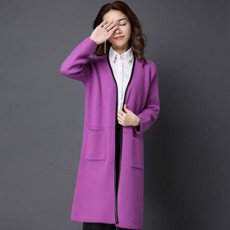 施悦名 韩版秋冬貂绒衫 女式中长款修身长袖大衣 皮领边纯色女式口袋外套