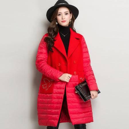 施悦名 装领貂绒大衣中长款羽绒服大口袋双排扣长袖纯色毛绒保暖外搭女