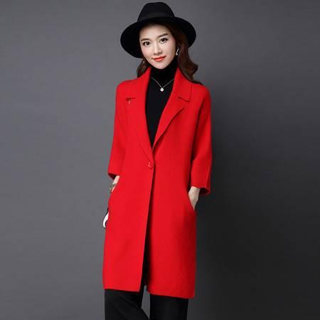 施悦名 秋季新品貂绒衫 七分袖修身中长款翻领大码貂绒纯色口袋女式大衣