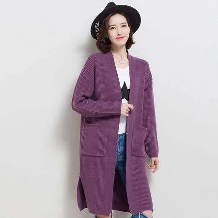 施悦名秋冬韩版女装 羊毛中长款口袋开叉外套 纯色长袖修身百搭针织大衣