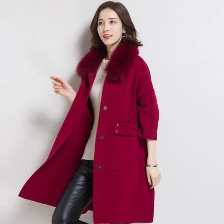 施悦名 秋冬新品大衣 中长款七分袖貂绒女式外套 貂子毛领宽松口袋大衣