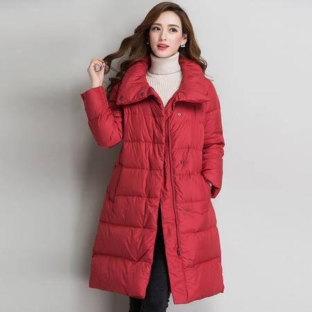 施悦名 秋冬新品冬装 中长款保暖立领纯色外套 长袖韩版斜插口袋羽绒服