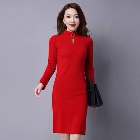 施悦名 冬季新款女装 中长款半高领金属钉扣旗袍式打底 中式修身连衣裙