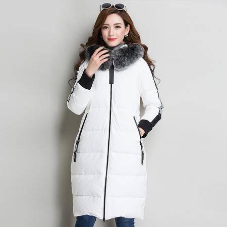 施悦名 2016韩版秋冬女款外套 中长款毛绒连帽拉链羽绒服 长袖字母女外搭