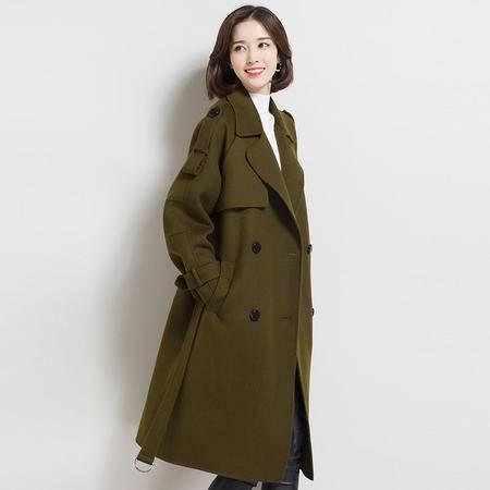 施悦名 秋冬爆款高圆圆同款大衣 韩版翻领中长款纯羊毛外套 纯色口袋大衣