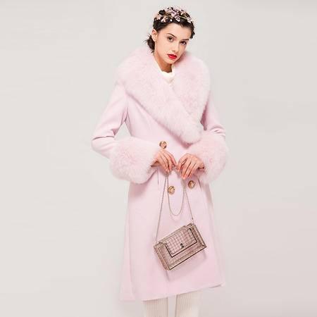 施悦名 2016秋季新款 定制狐狸毛粉紫色细带修身大衣外套
