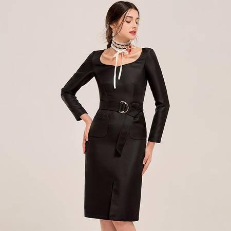施悦名 2016新款秋季纯色复古修身连衣裙优雅气质小黑裙