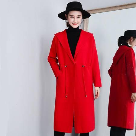 施悦名秋冬女士外套 中长款连帽韩版宽松单扣大衣 长袖系带纯色潮流外穿