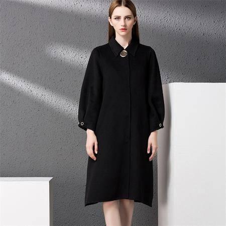 施悦名 2016秋冬新款九分灯笼袖双面羊绒单排扣毛呢大衣外套