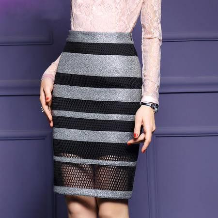 施悦名 2016秋装新款条纹拼接包臀裙半身裙性感网纱一步裙百搭
