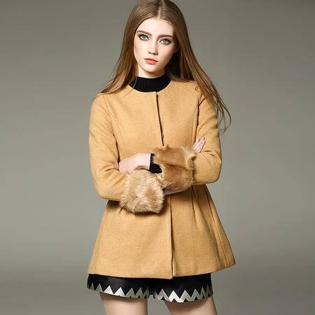 施悦名 2016欧洲站女装冬季新款外套小圆领毛毛袖呢子大衣