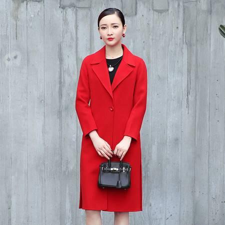 施悦名 羊毛大衣长款韩版收腰双面羊毛外套女式羊毛呢大衣