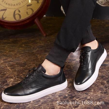 小童马 真皮板鞋男士休闲鞋春季新款韩版男鞋系带时尚低帮鞋   A60