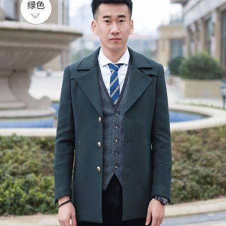 汤河之家 秋冬新款男装韩版休闲时尚呢大衣羊毛中长款修身风衣   58145