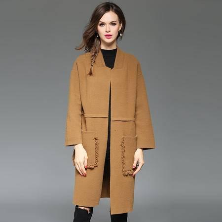 施悦名 2016时尚纯色棒球领外套宽松毛呢大衣