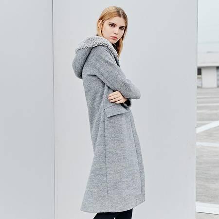 施悦名 016秋冬新款英伦街头风时尚连帽直筒毛呢大衣女羊毛长款外套