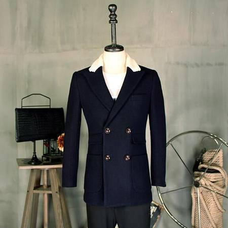 汤河之家 冬季新款男式大衣英伦时尚休闲羊毛呢子中长款风衣男外套 58246