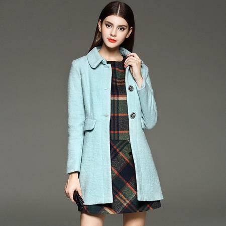 施悦名 2016秋冬女式外套欧美大牌修身羊毛呢中长款大衣