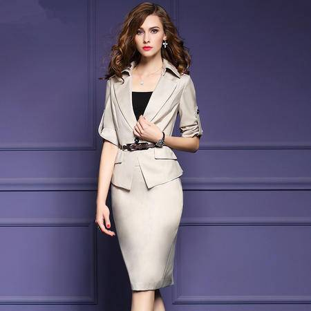 施悦名 2016秋季新款职业套装女装气质修身外套时尚OL半裙正装