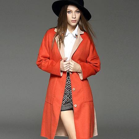 施悦名 2016秋季双面呢羊毛大衣女新毛呢外套欧美高端长款纯色外套