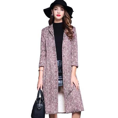 施悦名 2016秋装新款单排扣修身风衣女长款外套气质韩版冬季潮