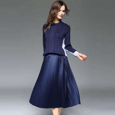 施悦名2016时尚针织拼接条纹衬衫+百褶裙套装