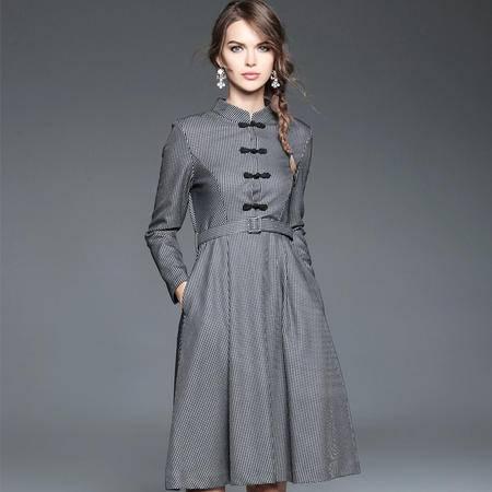 施悦名 2016秋冬新款高端大码女装细纹格子长袖显瘦连衣裙