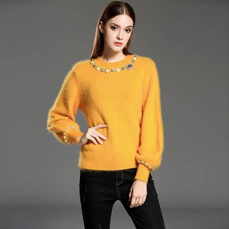 施悦名 2016秋冬新款套头圆领毛衣纯色女式韩国女装打底针织羊毛衫