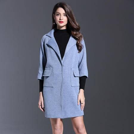 施悦名 2016秋冬新品女装风衣欧美外贸西装领七分袖纯色毛织外套