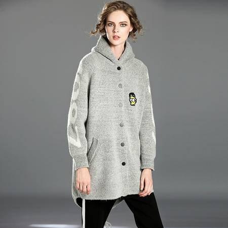 施悦名 女式秋冬装2016新款女装欧美时尚个性贴布连帽单排扣针织衫外套