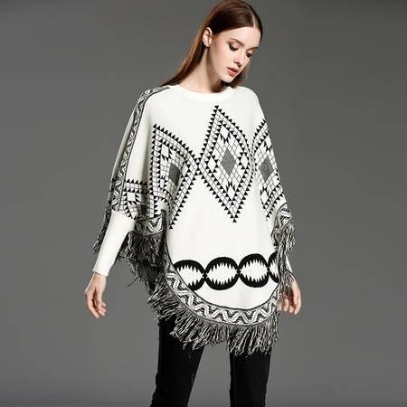 施悦名 2016秋冬季新款欧美时尚女士套头针织衫流苏下摆针织斗蓬