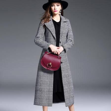 施悦名  2016冬装毛呢外套女新品欧美高端翻领格子修身长款大衣