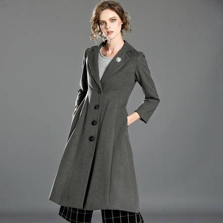 施悦名 2016秋冬装新款女士服装欧美时尚知性优雅单排扣修身外套大衣