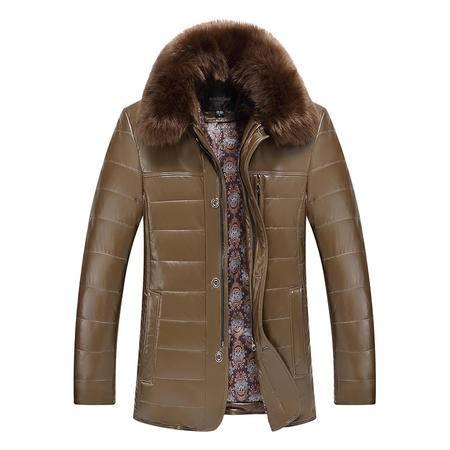 汤河之家 冬季装加厚高档皮衣外套皮棉衣面料修身短款毛领皮棉服大衣男 2-9-40-527